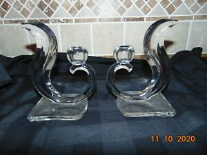 Set of 2 UNIQUE CLEAR GLASS CANDLE HOLDERS FOR TAPER CANDLES