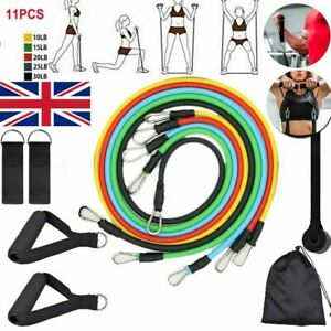 UK 11pcs Heavy Resistance Bands Home Gym Fitness Training Tubes with Door Anchor
