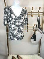 St John Women's Short Sleeve T-Shirt Size S Black White Stretch V-Neck EUC