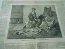 Gravure 1860 - La Basse Cour en danger d'après tableau de Verlat