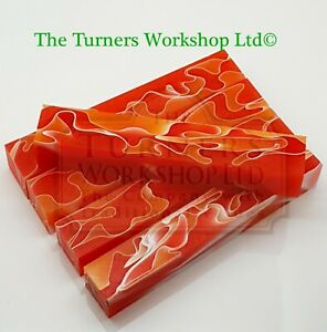 WOOD-TURNING - 5 x Acrylic Pen Blanks Fire Coral