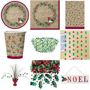 Christmas Tartan Tableware Gift Boxes Bags Tags Crackers Plates Napkins Cups