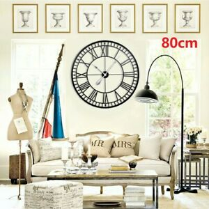 80CM Large Wall Clock Metal Home Big Roman Numberals Giant Open Face  Round