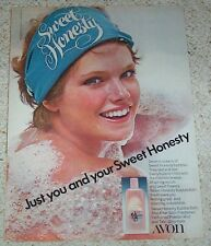 1976 vintage ad page - AVON Sweet Honesty GIRL bubble bath PHOTO print ADVERT