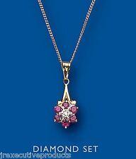 Rubí y Diamante Colgante Oro Amarillo con Rubí Collar Tipo Racimo