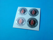 RUDGE WHITWORTH Silver Vintage Classic Wire Wheel Motorcycle Stickers 4 off 25mm