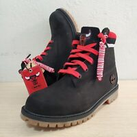 Timberland X NBA Chicago Bulls 6-Inch Waterproof Big Kids Black Boots SZ (A1UDG)