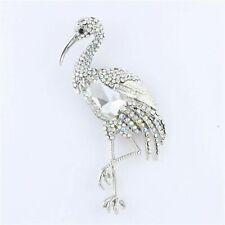 Large AB Clear Rhinestone Crystal Stork Bird Brooch Pin B1174