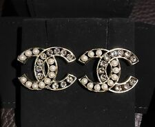 CHANEL Large CC Classic Pearl Clear Swarovski Crystals Stud Pierced Earrings