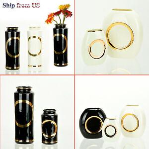 Modern Flower Vase Luxury Elegant Home Decoration 24K Gold Rim Ceramic Gift