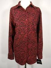 Beautiful Women's Size 16W Sag Harbor Burgundy Spotted Cat Design Fitted Blouse