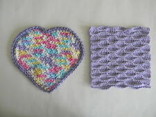 "Valentine Handmade Crochet Dishcloths - 100% Cotton ""Joyous Heart & Square"""