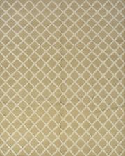 Moroccan Design Rug Flat-Weave Hi-Lo Pile, 8' x 10', Beige, Wool/Bamboo Silk