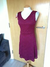 Ladies NESS Dress Size 8 Burgundy Lace Stretch Smart Party Evening Wedding