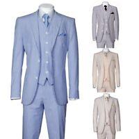 Men's 3 Piece Fashion Striped Seersucker Suit With Vest&Pants Slim Fit 2 Button