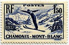 "FRANCE STAMP TIMBRE N° 334 "" CHAMPIONNATS DE SKI A CHAMONIX 1F50 "" NEUF xx LUXE"