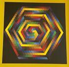 Vintage Hexagon Op Art Lithograph Print Mid Century Modern Wall Hanging Vasarely