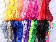 22 Rolls 2mm Mixed Chinese Knotting Silk Nylon Satin Rattail Cord String Thread