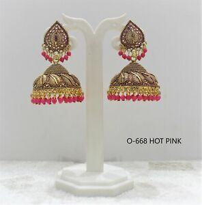 Latest Big Jhumka Earrings Pakistani Punjabi Bollywood Wedding Meenakari Indian