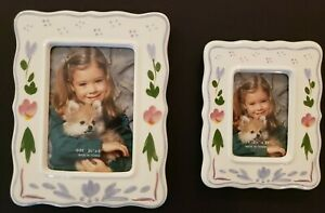 Set of 2 White & Blue Floral Ceramic Picture Frames 7 x 5.5 & 5.25 x 4.25 inch
