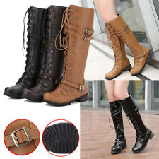 Women Knee High Riding Boots Ladies Flat Mid Wide Calf Lace Up Winter Shoes Size