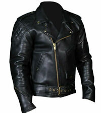 Mens Real Cowhide Bikers Jacket Quilted Panels Bikers Jacket BLUF Quilted Jacket