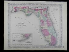 1863 CIVIL WAR MAP OF FLORIDA JOHNSON'S  ATLAS, w/ C.O.A., ORIGINAL ANTIQUE VGC+