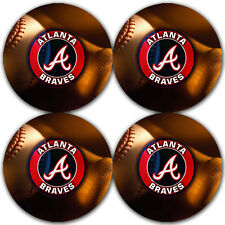 Atlanta Braves Baseball Rubber Round Coaster set (4 pack) / RNDRBRCSTR2001