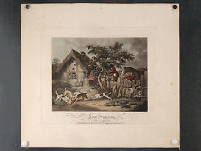 LITHO EQUESTRE ANCIENNE, SIGNEE G. MORLAND, chevaux, cavaliers, chasse à courre