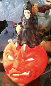 RARE Vintage Ceramic Jack-O'-Lantern / Lamp with Perched Witch & Owl Halloween