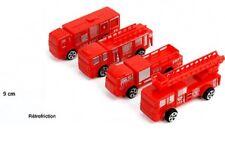 10 Petits CAMIONS DE Pompier Rouge 8 X 4 CM Retro-Friction Cadeau Jouet Enfant