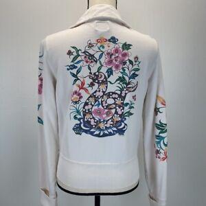 Lucky Brand floral dragon full zip jacket sz M