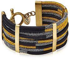 "Lena Bernard Gold Silver 7.5"" Toggle Clasp Nylon Thread Brass Makita Bracelet NW"