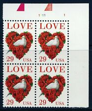 US 1994 Love Stamp 29 cent Plate Block (2814) . Mint Never Hinged