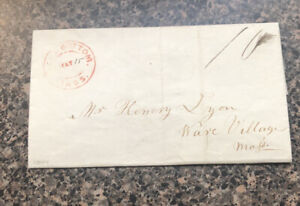 Stampless Folded Letter/Cover Rock Bottom MA  to Ware Village MA 10 Cents 1844