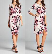 TUA Floral Print 3/4 Sleeve Cut Out Neck Faux Wrap Dress (Size L)