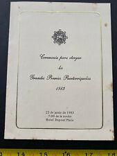 Puerto Rico 1983, INVITACION ACTIVIDAD PREMIACIONES Academia de Artes y Ciencia