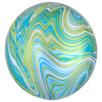 Good Quality & Highly Durable Blue Green Marblez Orbz Balloons.