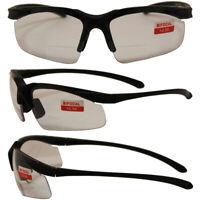 Apex Bifocal Safety Glasses 2.5 CLEAR Shatterproof Lenses Black Frame Z87.1