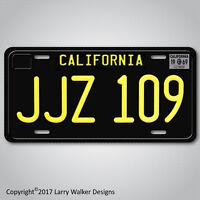 JJZ 109 Steve McQueen's 1968 Mustang Replica Prop Aluminum License Plate Tag