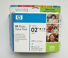 HP VIVERA 02 SERIES VALUE PACK 6 INK CARTRIDGES, 150 4X6 GLOSSY SHEETS NOS