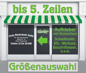 5. Zeilen Aufkleber Beschriftung 50-120cm Werbung Sticker Werbebeschriftung LkW