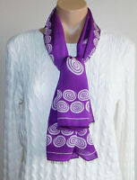Vintage Pure Silk Purple White Oblong Scarf Made in Japan Hand Rolled 16 X 43