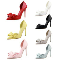 Womens Ladies Bowknot Stiletto High Heel Shoes Pointed Toe Party Evening Size