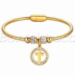 Women's Stainless Steel Hollow Rhinestone Cross Magnetic Cuff Buckle Bracelet