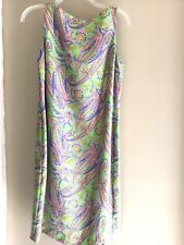 NWT Ralph Lauren SILK paisley floral shift boatneck dress green/multi 6