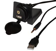 Prise rallonge USB + jack 3.5mm avec support à fixer Longueur 2M 2 mètres