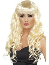 Long Curly Blonde Siren Wig With Fringe Fancy Dress Costume Accessory