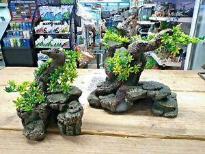 Aquarium Bonsai Tree On Rock Cave  Hide Fish Tank Ornament Decoration 3 SIZES