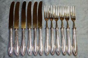 Set of 12 Antique 800 Silver Fruit Dessert Knives & Forks with Gold Wash